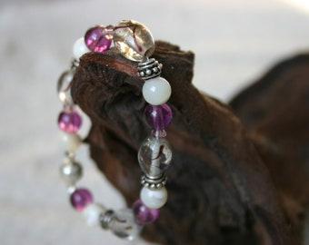purple, white, silver beaded bracelet