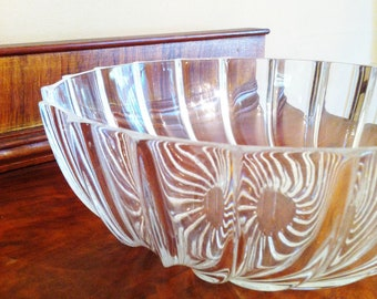 Crystal Bowl, Lead Crystal Bowl, Contemporary Bowl, Centerpiece, Crystal Serving Bowl, Cut Glass Bowl