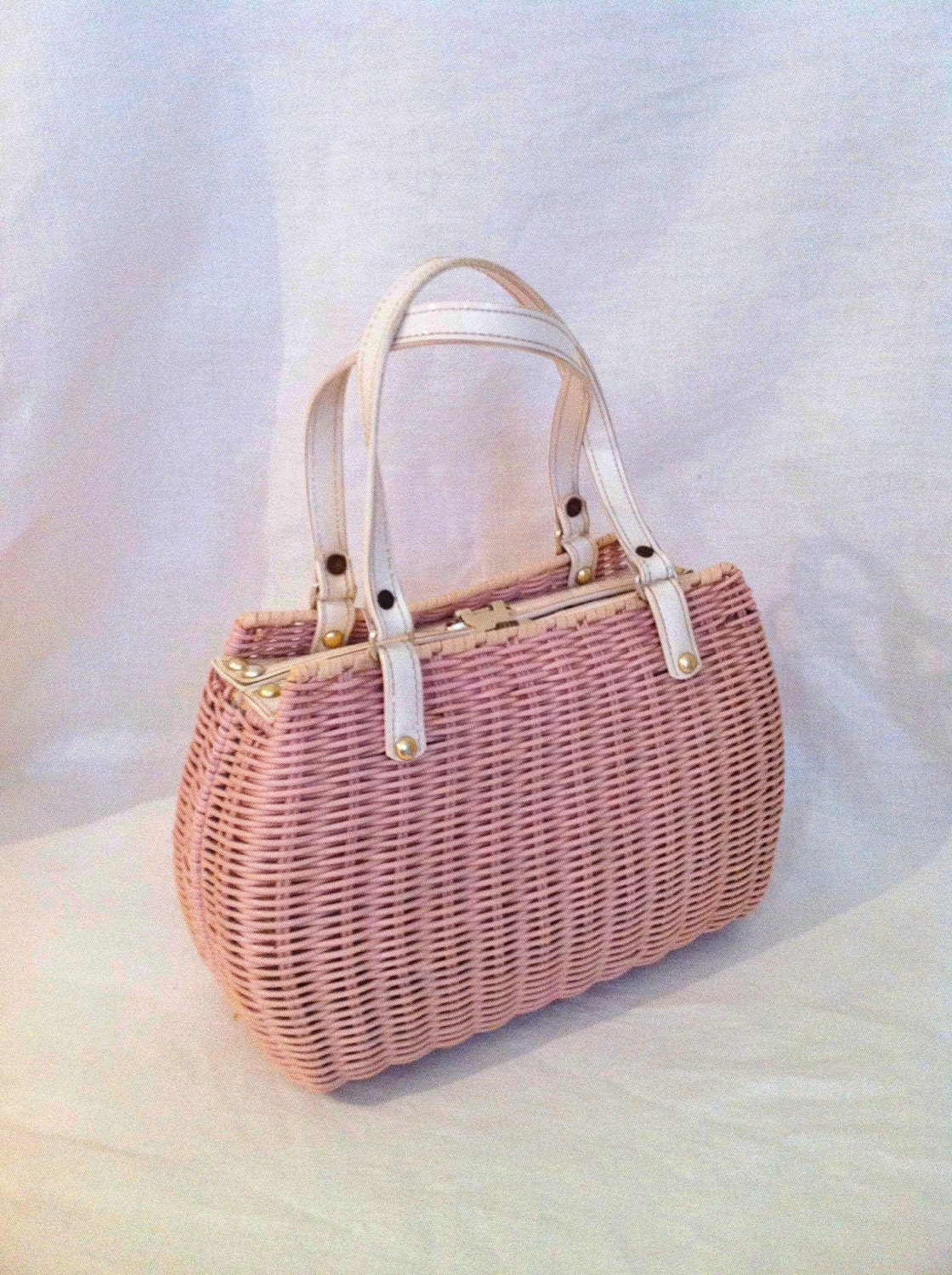 Vintage Purse Pink Wicker Vinyl White Straps Preppy 1960s