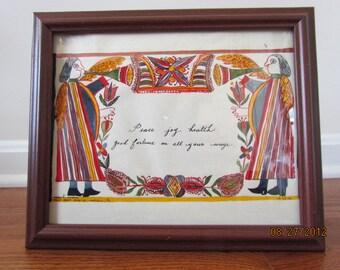 Handpainted House Blessing Fraktur in Brown Frame - 2002
