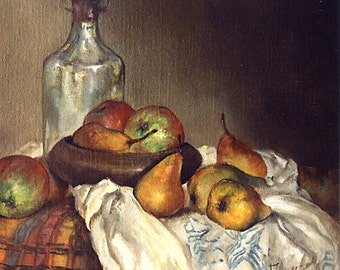 Classical Still Life, Print 10.8x12, Bottle and Pears, oil on canvas