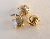 39SS Round Chaton Montee Sliders, 8mm Golden Shadow Swarovski, Set of 3, 2 Holes on Each Side, Sew On Rhinestones, SS39, Gold Plated