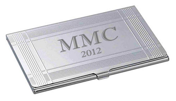 Personalized High Polish Silver Business Credit Card Holder