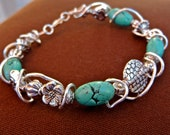 Faux Turquoise Silver plated beaded and wired wrapped Bracelet by Third Time's A Charm **FREE PRIORITY SHIPPING!!**
