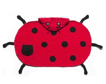 FREE PERSONALIZATION!  Embroidered Kidorable ladybug Hooded Bath Towel, Kids bath towel