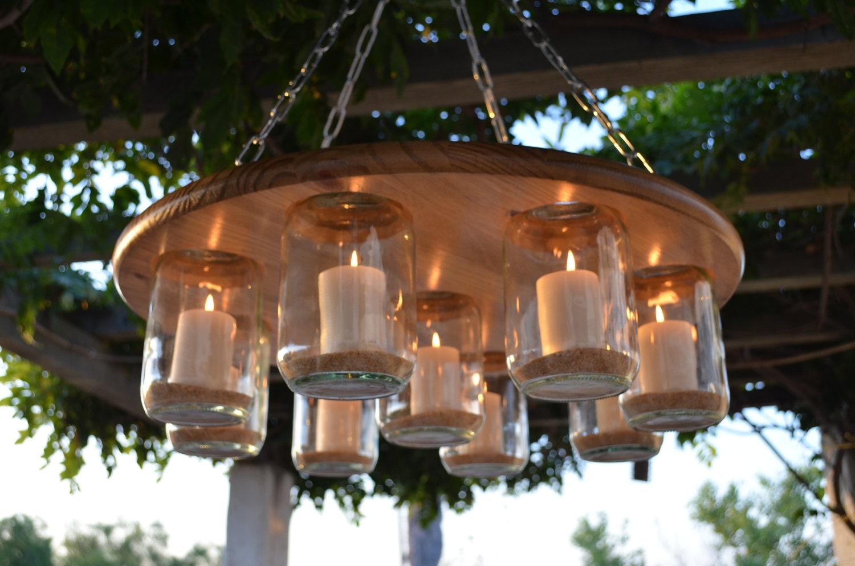 Mason jar chandelier wedding patio decor rustic by whichkrafters - Build a chandelier ...