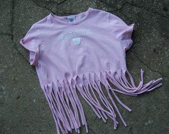 New York Giants Shredded Fringed Cut Up Pink T Shirt