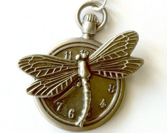 Steampunk pocket watch necklace antique silver dragonfly Handmade Gift