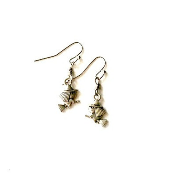 Witch Earrings dangling witch earrings Handmade Gift