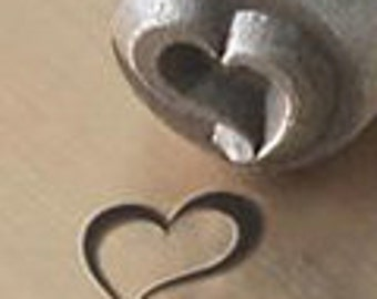Swirly Heart Metal Design Stamp - 6mm ImpressArt Fancy Swirly Heart Design Stamp - Heart Design Stamps - leather, metal, clay - tools