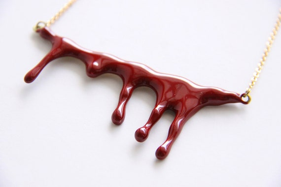 Bleeding Blood Necklace - Red Enamel Pendant with Brass chain