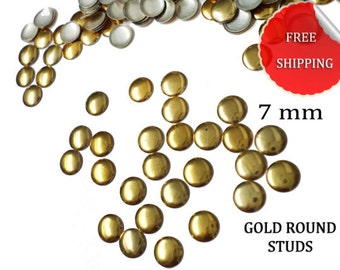 DIY Studs - 100 PCS Gold Round Studs 7 mm - Iron On, Hot Fix, or Glue On - Free Shipping