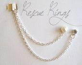 Heart Pearl and Rhinestone Ear Cuff Chain Earring