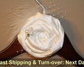 Fast shipping & turn over time. Personalized Wedding Hanger with Rosette, flower, Custom Bridal, Bride, Name, Bridal Gift.