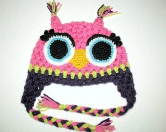 Girls Pink Owl Hat