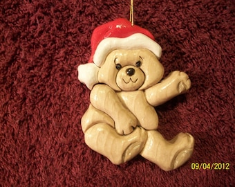 Hand made scroll sawed Teddy Bear Intarsia ornament