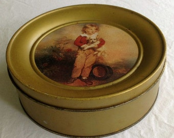 Vintage Round Biscuit Tin Made In England with Lithograph of Boy and Dog