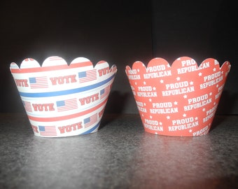 Repulican Cupcake Wrappers- Set of 12  Presendial Election Democrat