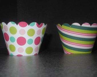 Cupcake Wrappers  Set of 12 Christmas  Holiday Birthday Party Baby Shower