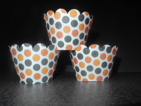 Halloween Theme Cupcake Wrappers. Set of 12 Holiday Party Spooky Fun