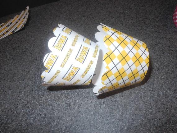 Iowa Hawkeye Cupcake Wrappers- Set of 12 College Football Sports Athletics