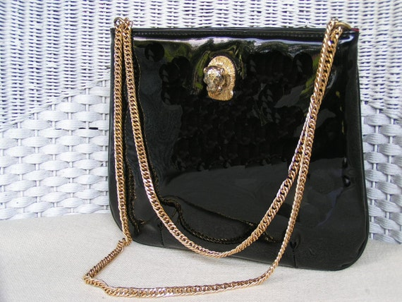 Reserved!  Vintage Cougar Bag Ruth Saltz black patent leather Cougar Bag purse with long gold chain purse Like New