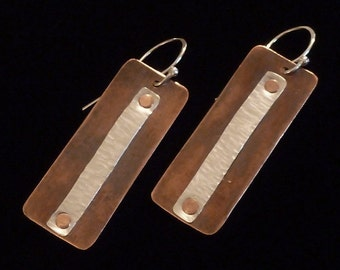 Copper and Silver Riveted Rectangle Earrings