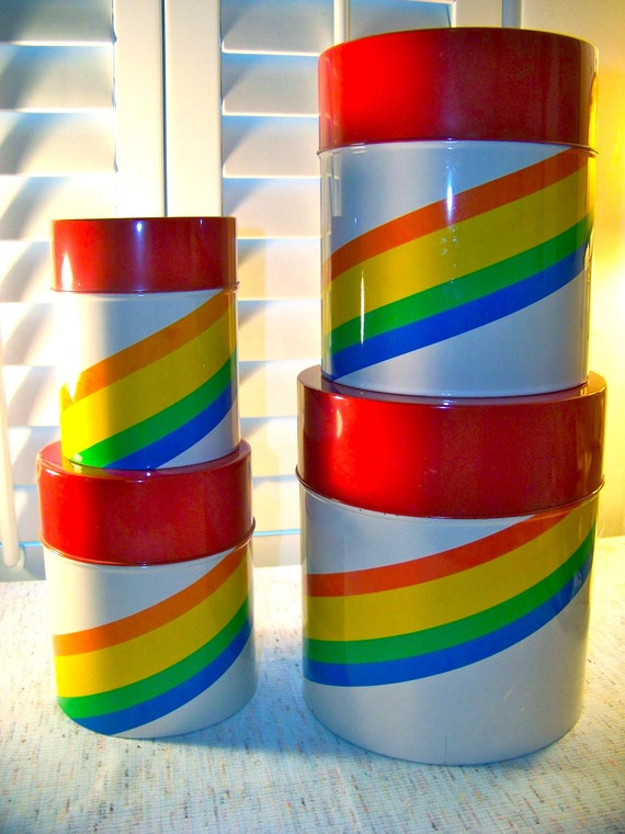 Reserve for Nicole Vintage Canister Set. Metal Nesting Canisters. Rainbow Stripe. Vintage Kitchen. Red Lids.