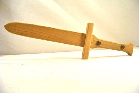 Vintage Sword Pirates and Ninjas Wooden Handmade. Small Handheld Sword for Dress Up or Halloween.