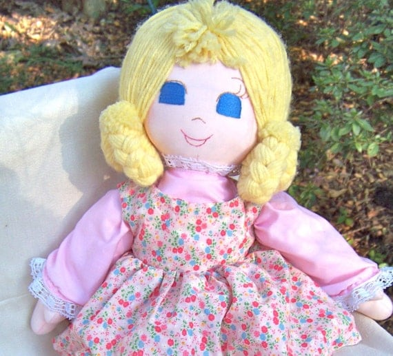 Vintage Cloth Doll Rag Doll In Pink Calico By RamshackleVilla