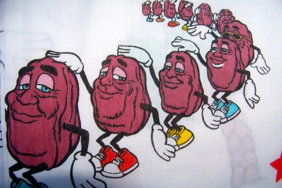 Vintage Bed Sheet California Raisins Standard Full 1988