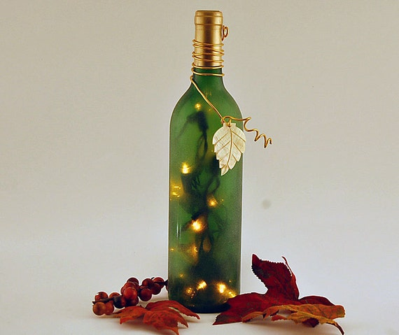 Wine bottle light, gold and green, autumn leaf, Thanksgiving, autumn decoration