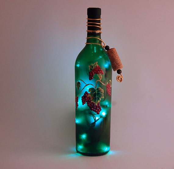Wine Bottle Light Grapes Red And Green Bottle Lamp By