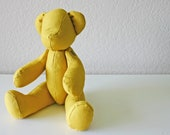 Handmade Teddy Bear in Natural Linen: Mustard Yellow - FabricStudioByIrene