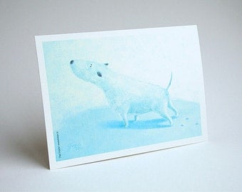 Bullterrier card Dog card Pet lover card Animal card Dog Bullterrier dog illustration fine art card with envelope Light blue card