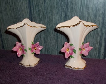 A Pair of Vintage Knox Imperial Hand Painted Fan Vase with red flowers and gold edge trim