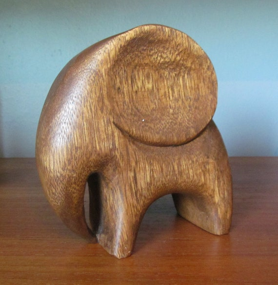 Mid Century Walnut Elephant