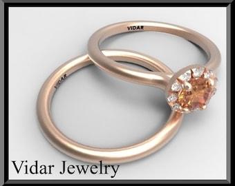 Orange Sapphire And Diamond Wedding Ring Set.Engagement Ring Set,Bridal Wedding Band.14k Rose Gold,halo Ring,unique Engagement Ring Set,