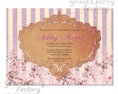 Elegant Bridal Shower Invitation -  Lavender Baby Shower Invitation - Purple Adult Birthday Invitation -No.13
