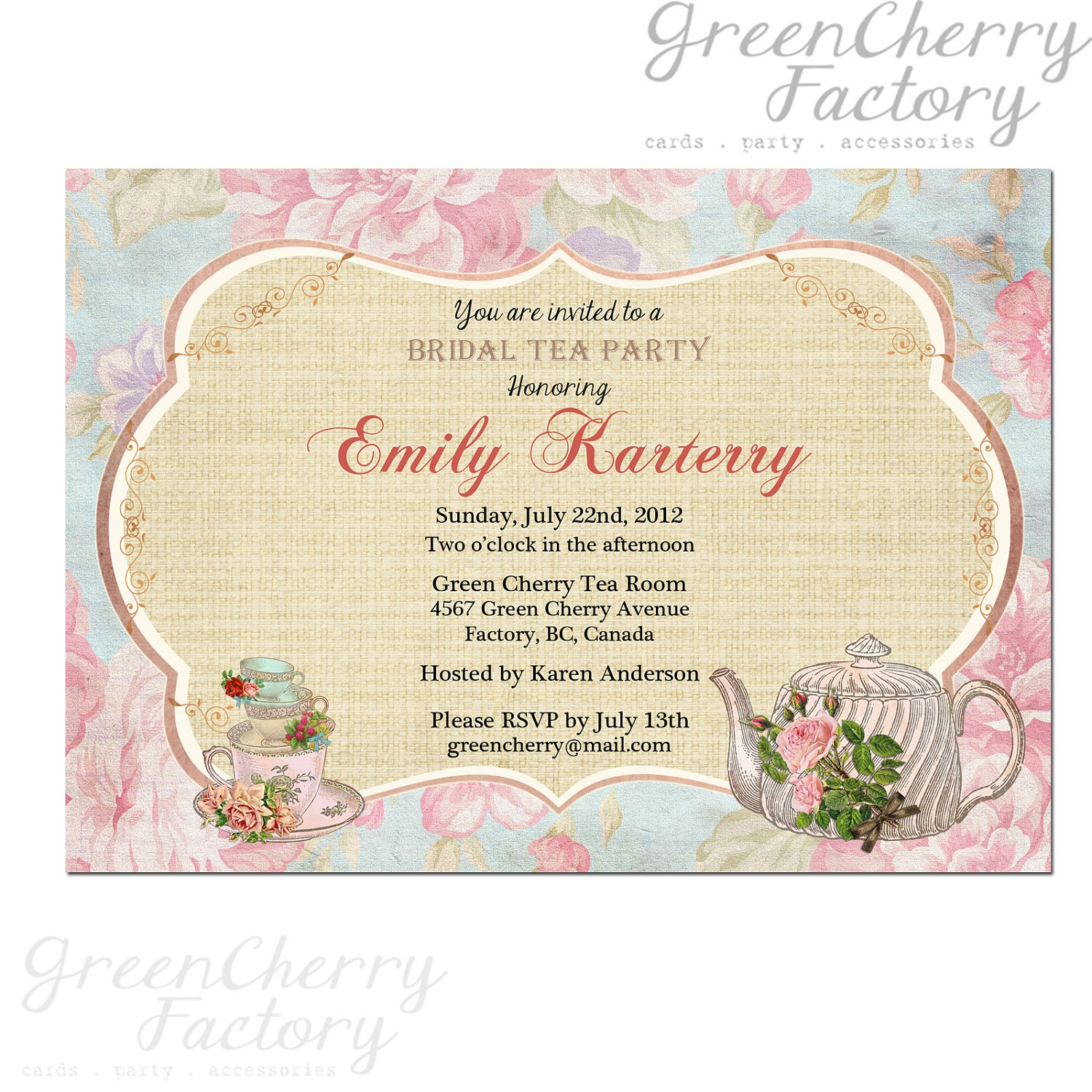 Items Similar To Floral Tea Party Invitation