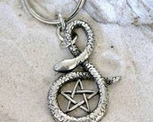 Pewter Snake Pentagram Gothic Pagan Wiccan Pentacle Keychain Key Ring (30F)
