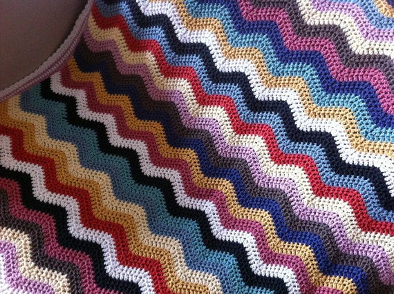 RESERVED Colorful Crocheted Ripple Afghan
