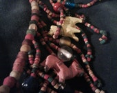 Vintage Artisan Safari Carved Lions Tigers and Bears Wood and Glass Beaded Necklace