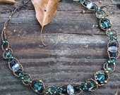 Shades of Green Swarovrski Crystals Beaded Necklace