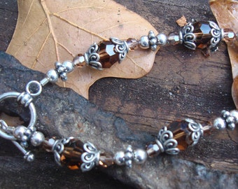 OOAK Bohemian Colors of Earth Crystal Silver Beaded Bracelet