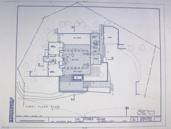 Frank lloyd wright storer house floor plan by blueprintplace for Frank lloyd wright floor plans