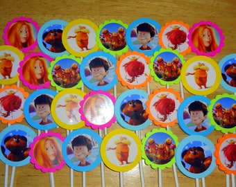 30 Ct The Lorax  cupcake toppers personalized birthday party favors decoration