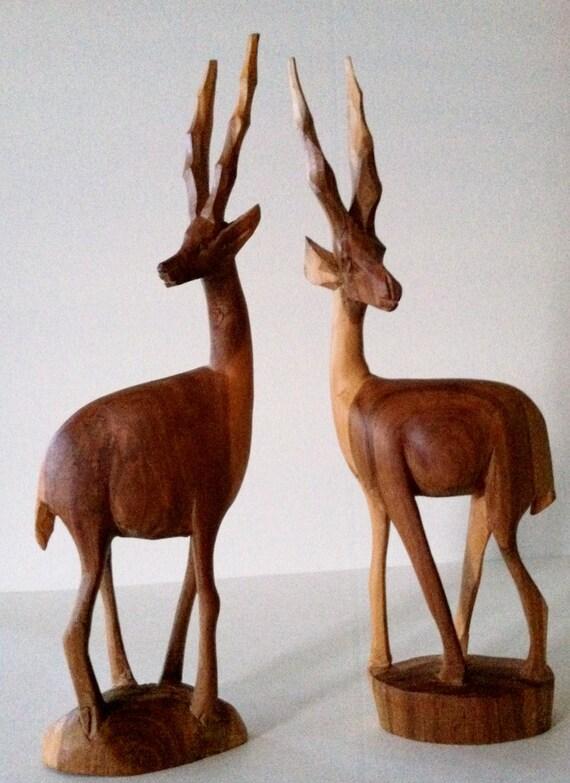 What a Sweet Pair of Mid Century Bookends... Handcarved Gazelles, Antelope, Deer