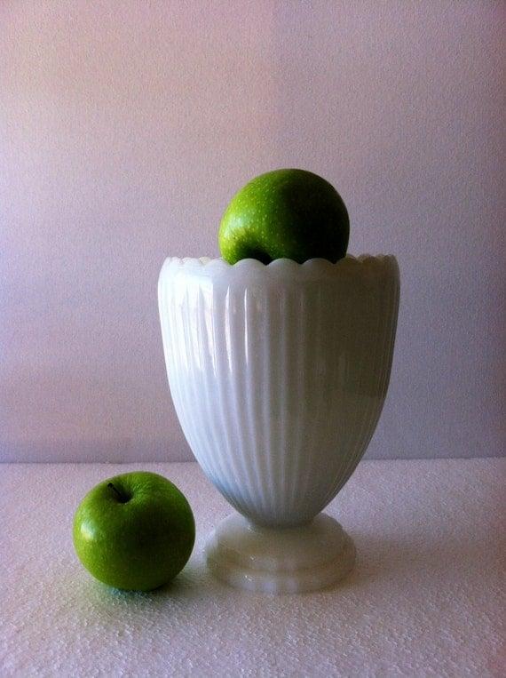 Crisp White ---- Vintage Milk Glass Vase or Planter