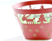 20 Holidays Reindeer Xmas Tree Laser Cut Lace Cupcake Wrappers Wraps - 15 Colors Available